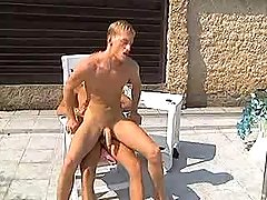 Dualistic amateur golden-haired boys play with tongue butts and fuck by pool