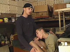 Charming faggot teasing and jerking stick in bedroom