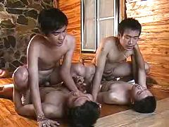 Two couples of Asian twinks love making act on the floor