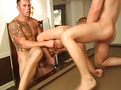 Muscle homosexual guys fuck tight fellows hole by turns