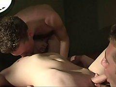 three horny gentlemen sucking knobs