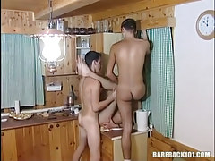 Dirty gay homosexual guys have fun on kitchen