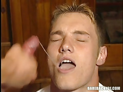 Wild faggot man swallows hot semen