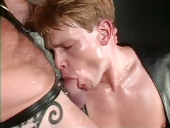 Amateur man-lover in leather sucks cock of bear dilf