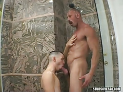 Charming man-lover serves silver dad in douche